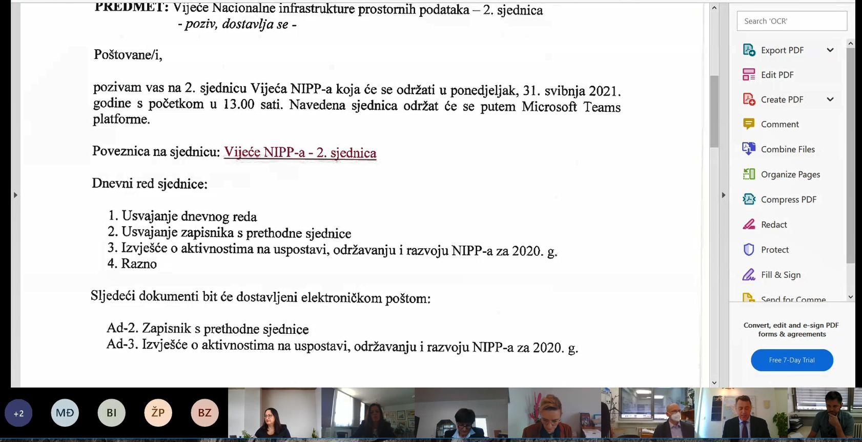 Slika prikazuje poziv na drugu sjednicu Vijeća NIPP-a