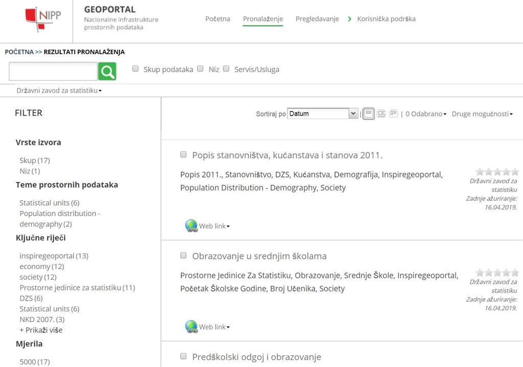 The picture shows the list of downloaded metadata on the NSDI Geoportal from the GeoSTAT portal.