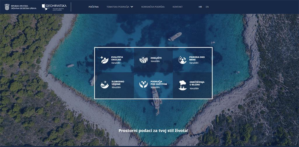 Slika prikazuje naslovnu stranu preglednika GeoHrvatska