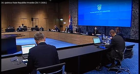 Slika prikazuje 24. sjednicu Vlade Republike Hrvatske