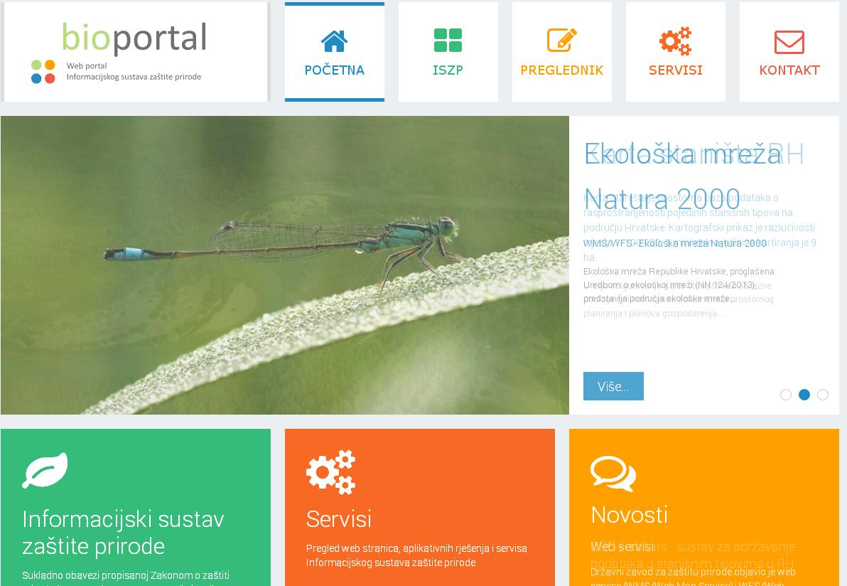 The picture shows the front page of the Bioportal - web portal of the nature protection information system.