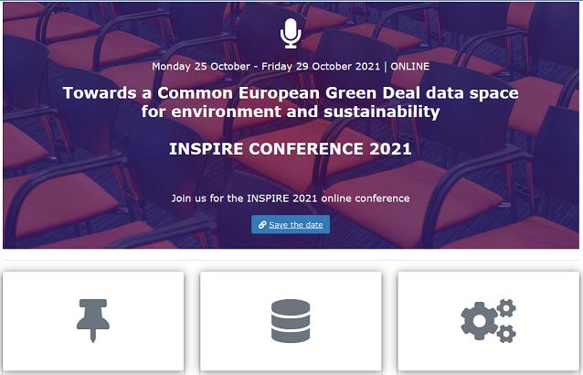 Slika prikazuje naslovnu stranu mrežnih stranica konferencije INSPIRE 2021