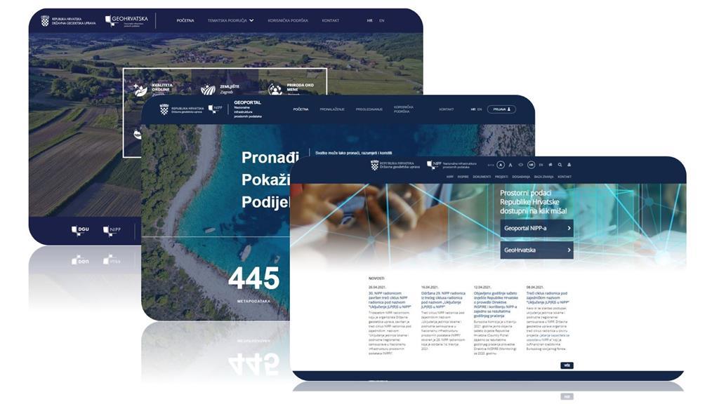 Slika prikazuje početne stranice Geoportala NIPP, preglednika GeoHrvatska i redizajnirane mrežne stranice NIPP-a, usklađenog vizualnog identiteta